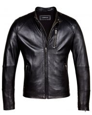 Black-Corbani-Biker-Leather-Jacket-With-Quilt-Front-Zip-Open