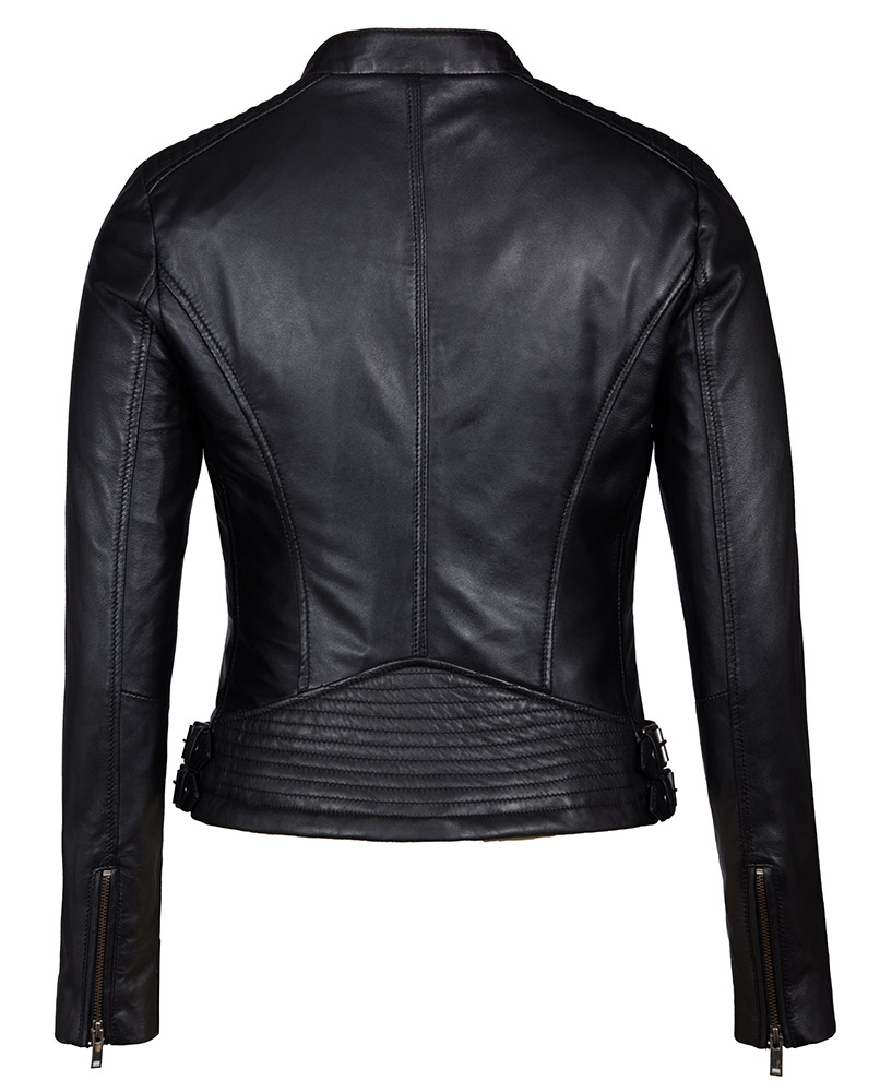 Black leather jacket with an eagle on the back