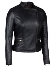 Black-Corbani-Genuine-Asymmetrical-Scuba-Leather-Jacket-Front-Side-Zipped