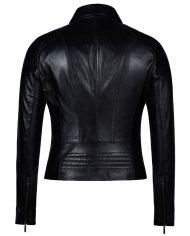 Black-Corbani-Genuine-Shirt-Collar-Scuba-Leather-Jacket-Back