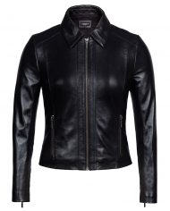 Black-Corbani-Genuine-Shirt-Collar-Scuba-Leather-Jacket-Front-Zipped