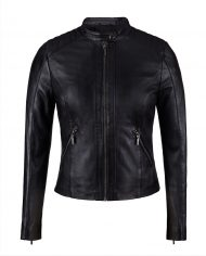 Black-Corbani-Genuine-Womens-Quilted-Shoulder-Scuba-Leather-Jacket-Front-Zipped