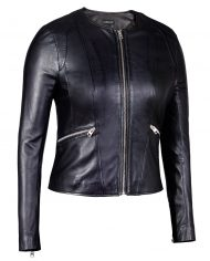 Black-Corbani-Round-Neck-Leather-Jacket-Leather-Jacket-Front-Zipped