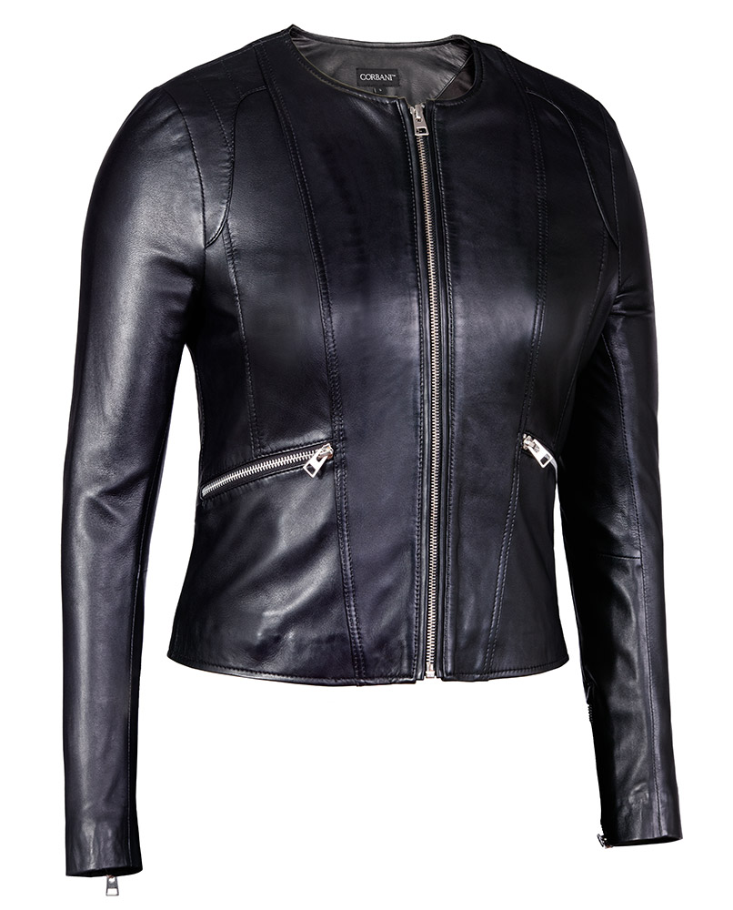 Leather Jacket: Womens Collarless Round Neck Black Genuine Leather Jacket