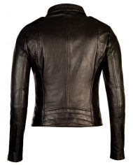 Black-Corbani-Womens-Asymmetrical-Zip-Biker-Leather-Jacket-Back