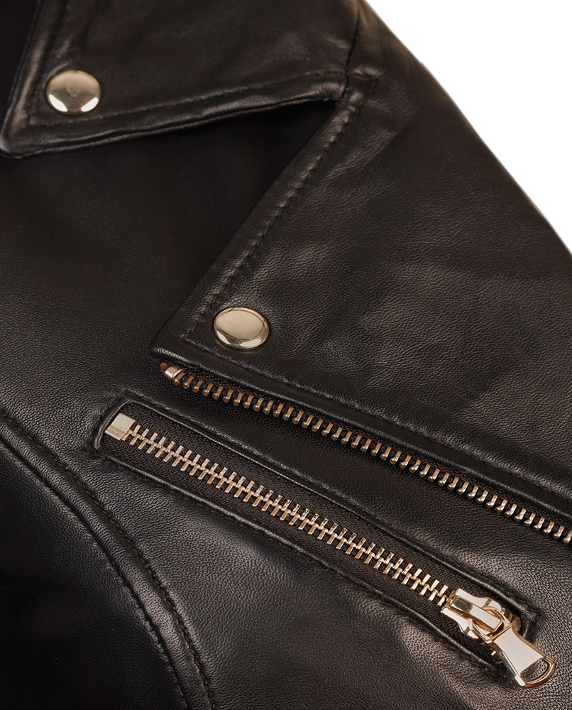 7d7315dbe9e Womens Black Leather Biker Jacket Gold Hardware - Genuine Lambskin