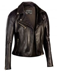 Black-Corbani-Womens-Asymmetrical-Zip-Biker-Leather-Jacket-Front
