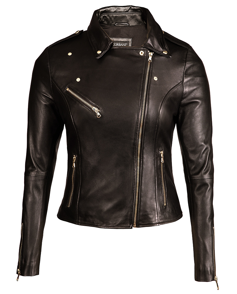Womens Black Leather Biker Jacket Gold Hardware - Genuine Lambskin