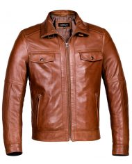 Brown-Corbani-Hooded-Leather-Bomber-Jacket-Front-No-Nood