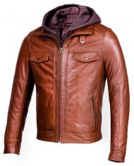 Brown-Corbani-Hooded-Leather-Bomber-Jacket-Front-Side-Hood