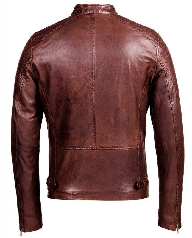 Cafe Racer Brown Leather Jacket - Mens Genuine Leather Jackets