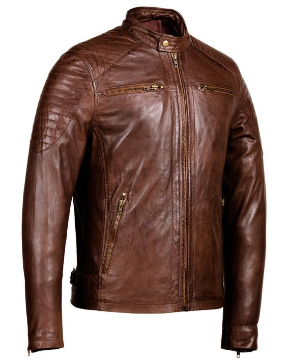 Cafe Racer Brown Leather Jacket Mens Genuine Leather Jackets