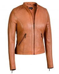 Cognac-Corbani-Genuine-Quilted-Shoulder-Scuba-Leather-Jacket-Front-Zip-Open