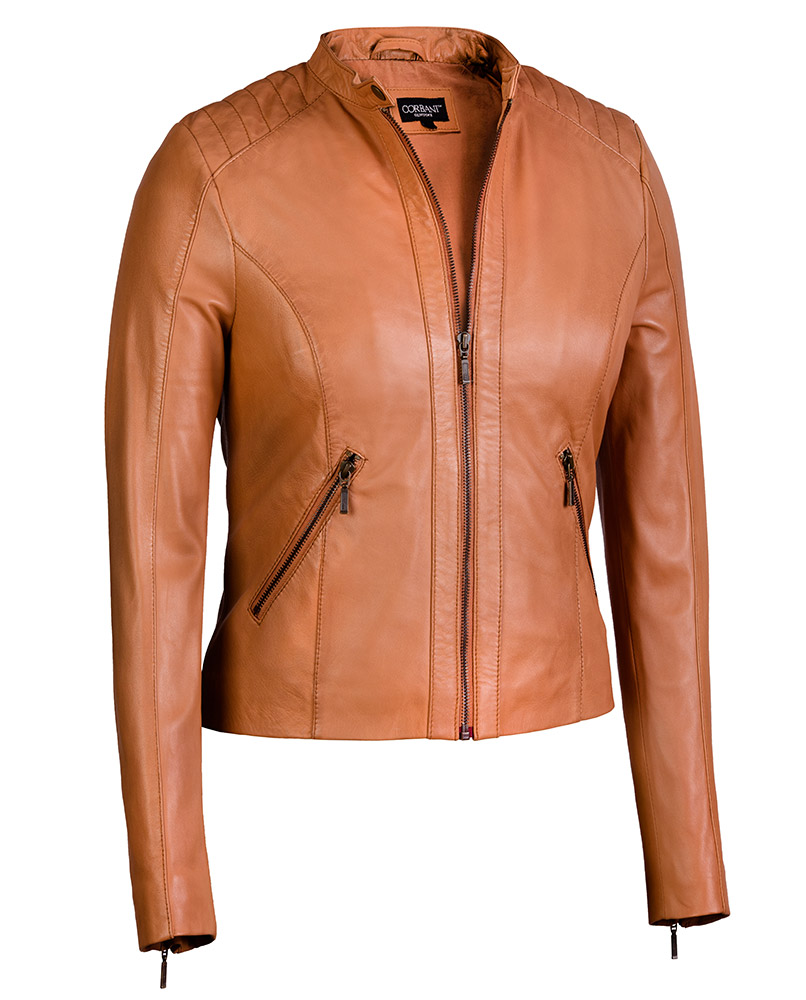 66b8973a7 Women s Moto Jacket in Cognac from Soft Genuine Lambskin Leather