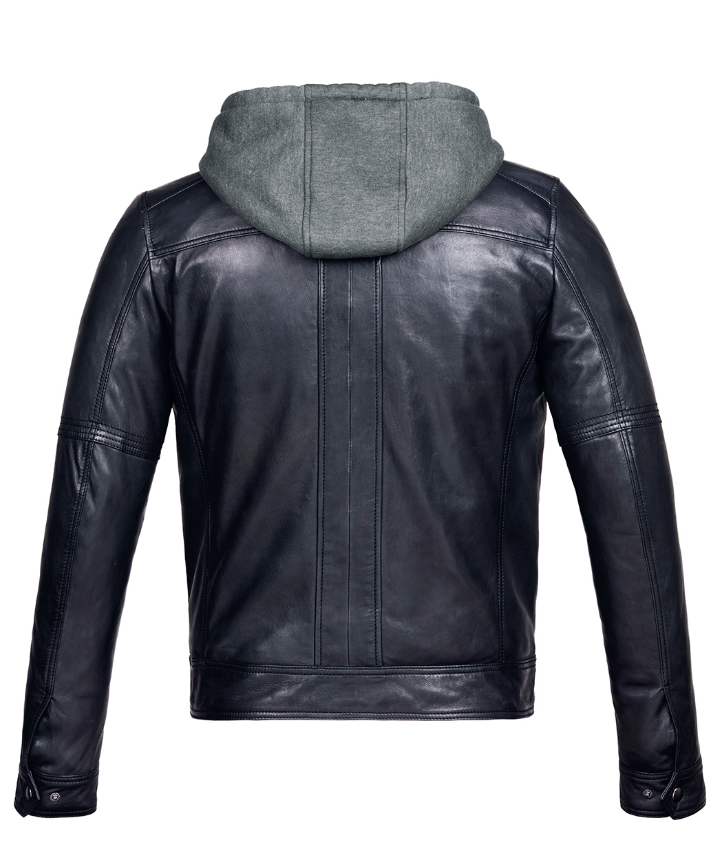 Mens Leather Jacket with Hood Vintage Black Bomber - Genuine Leather