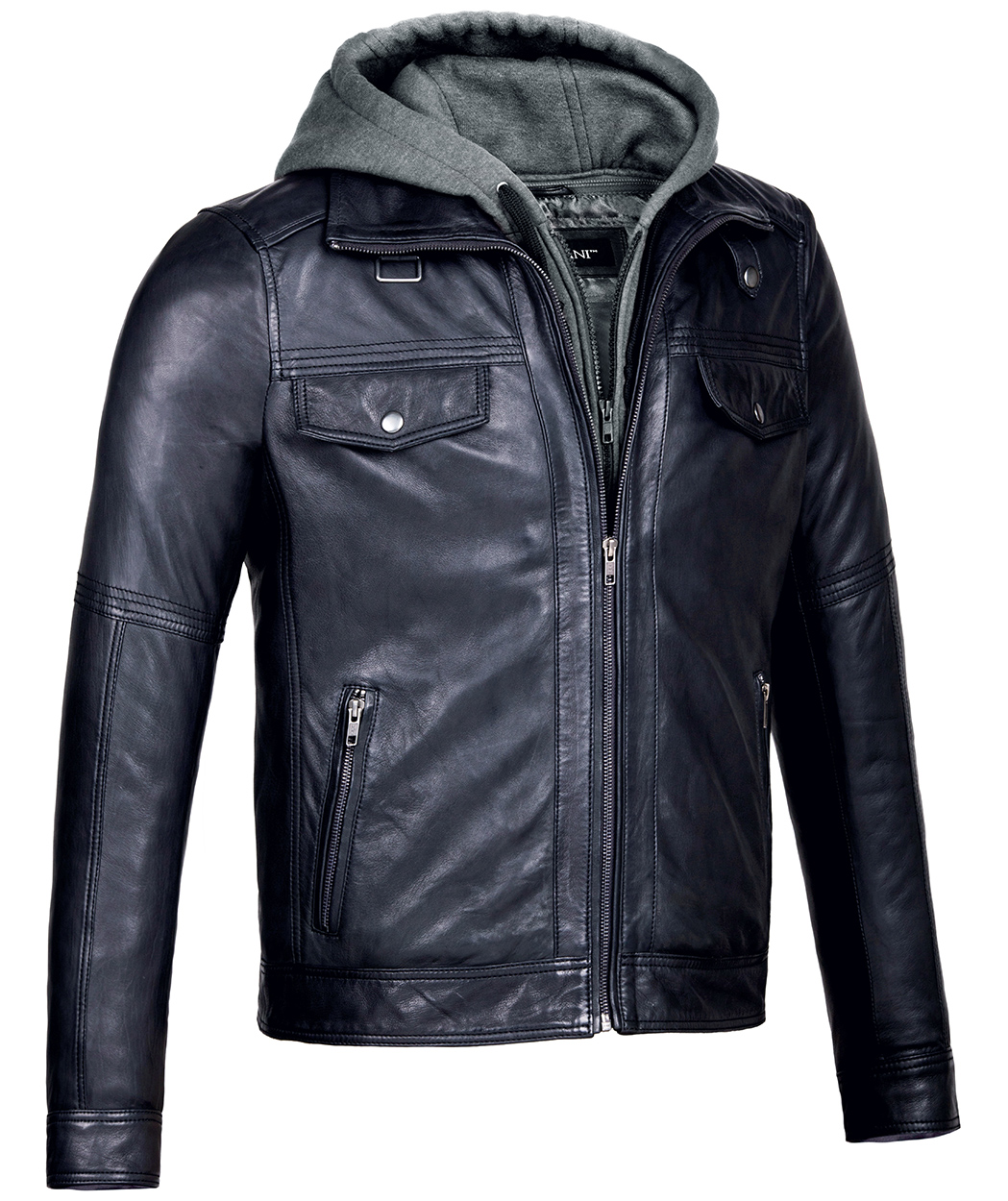 Leather jackets with hooded