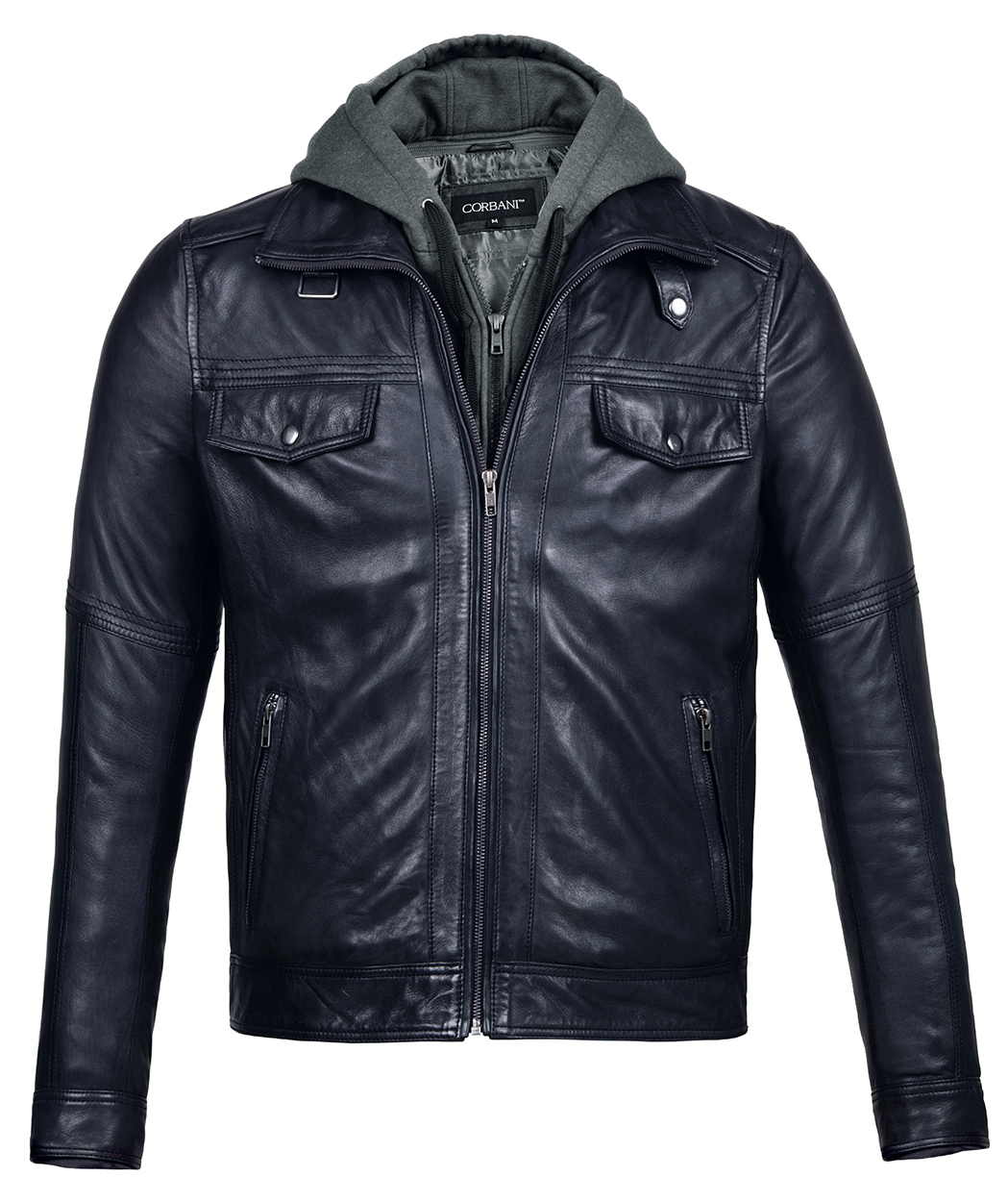 Mens Leather Jacket with Hood Vintage Black Bomber ...