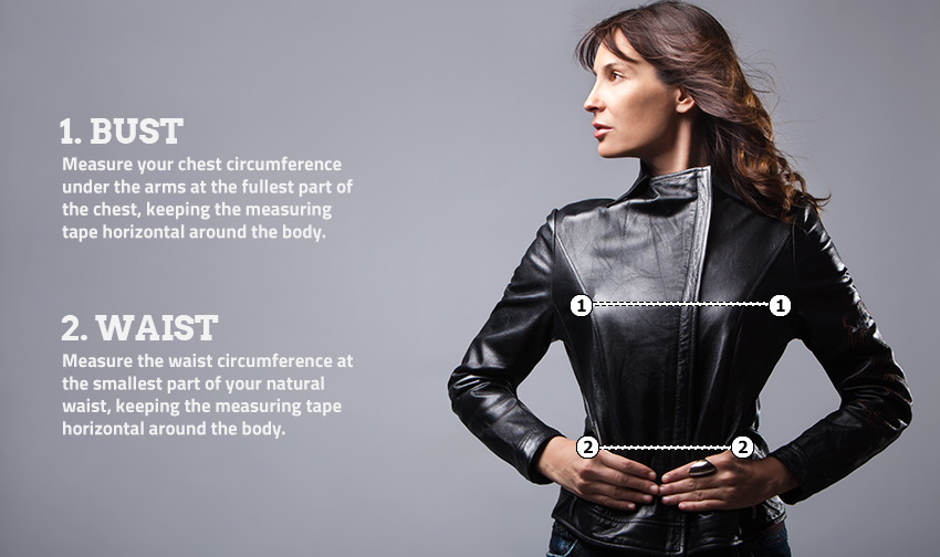 Corbani-Womens-Size-Guide-3 Womens Black Leather Moto Jacket from Soft Genuine Lambskin Leather