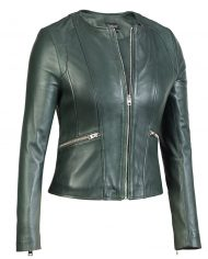 Green-Corbani-Round-Neck-Leather-Jacket-Leather-Jacket-Front-Zip-Open