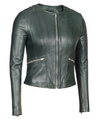 Green-Corbani-Round-Neck-Leather-Jacket-Leather-Jacket-Front-Zipped