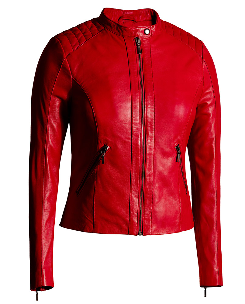 Red Leather Jacket for Women Moto Fashion - Genuine Leather Jacket