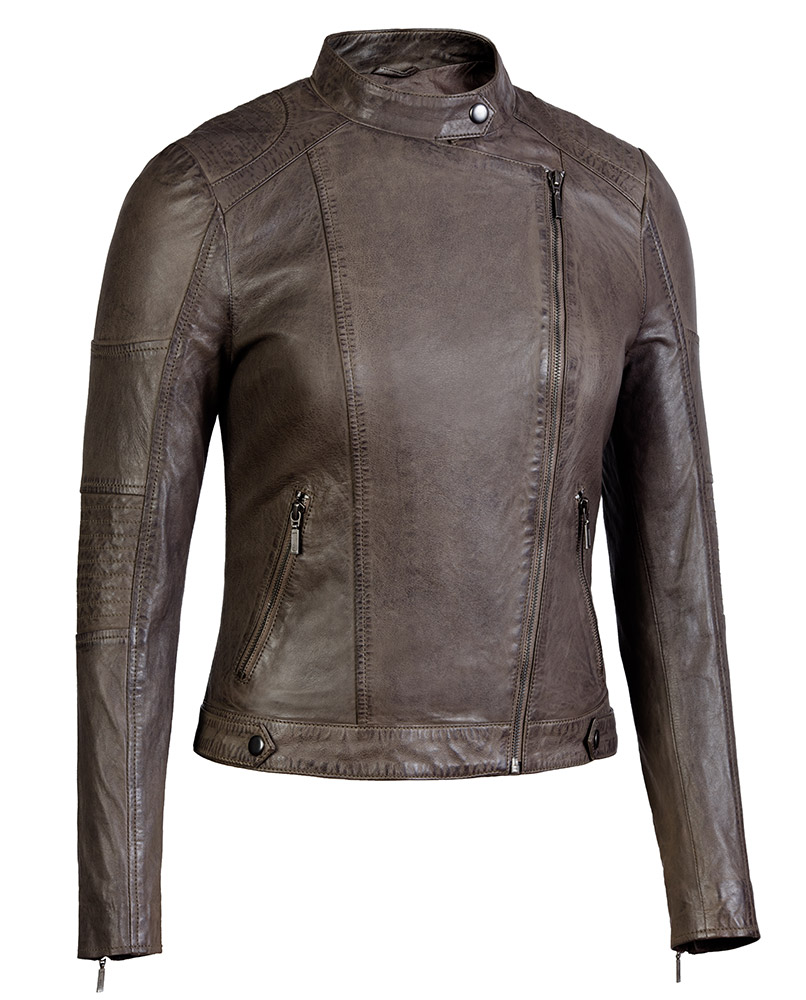 Taupe Womens Asymmetrical Leather Jacket Scuba Collar