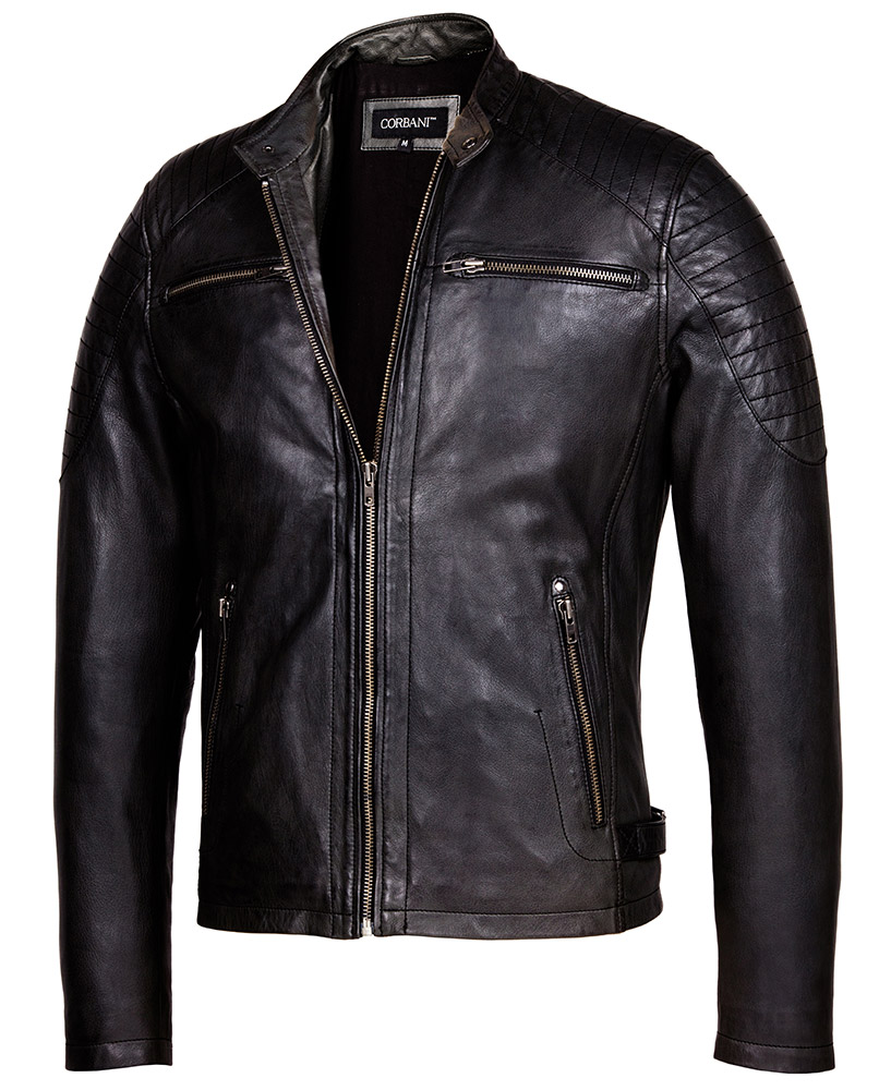 7baa338fbdce Vintage Black Cafe Racer Leather Jacket – Mens Genuine Leather Jackets