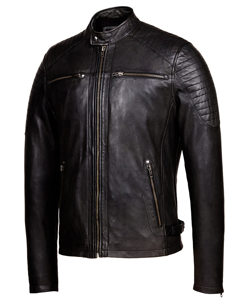 4cb981aaee91e Vintage Black Cafe Racer Leather Jacket – Mens Genuine Leather Jackets
