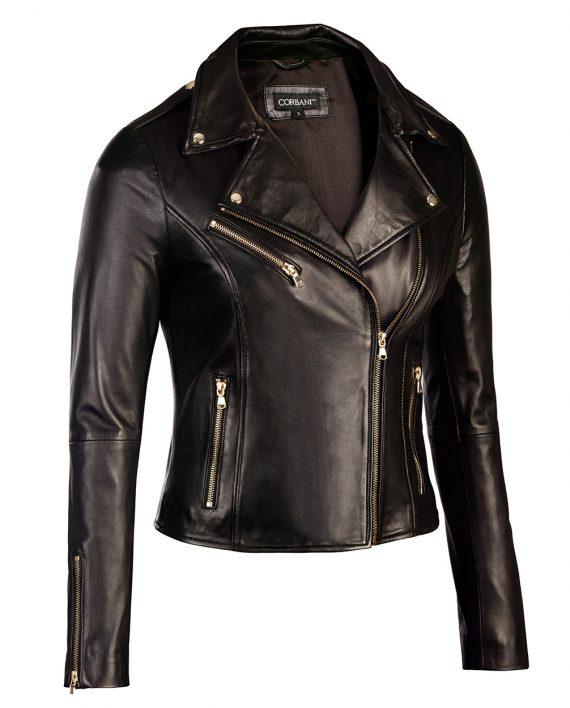 Womens Black Leather Biker Jacket Gold Hardware