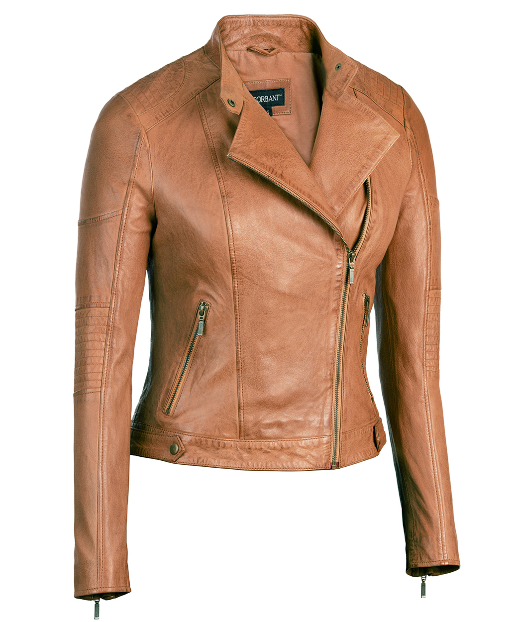 Cognac Womens Asymmetrical Leather Jacket Scuba Collar - Lambskin