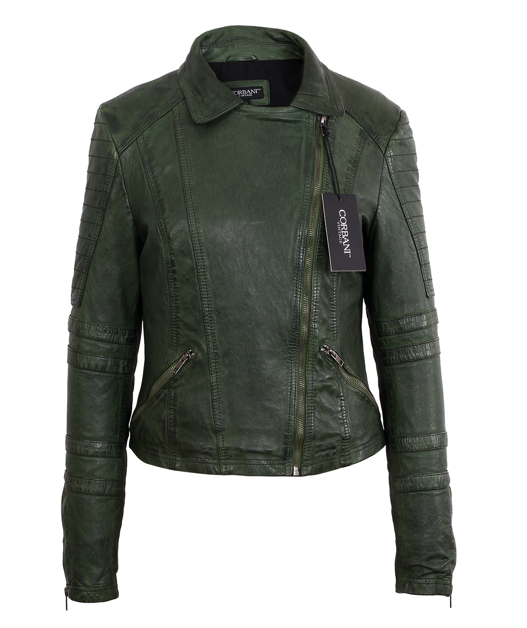 ab423f475 Womens Asymmetrical Vintage Dark Green Lambskin Real Leather Jacket