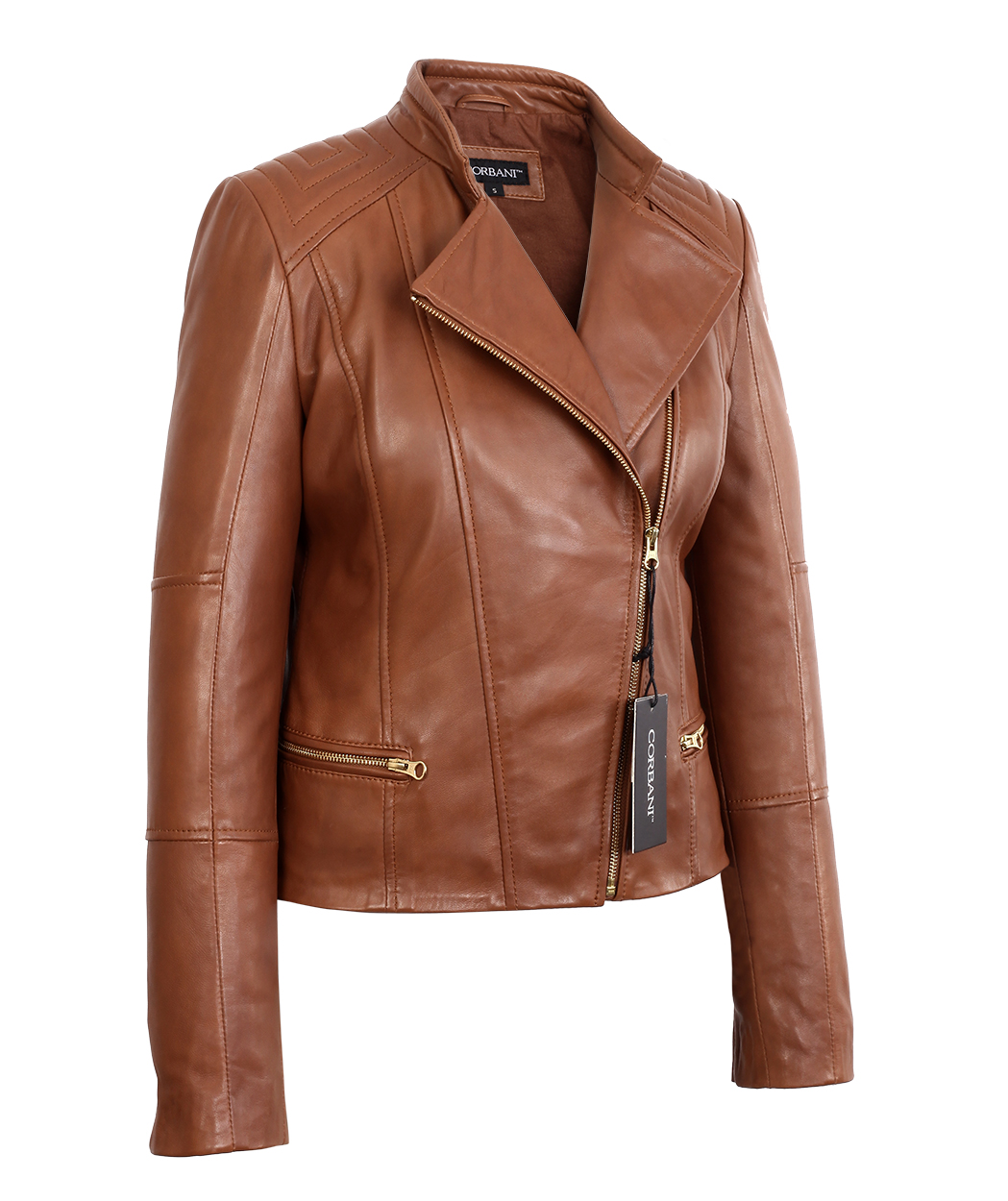 92a291987a1 Womens Brown Asymmetrical Lambskin Real Leather Jacket Light Gold Hardware  - Genuine Leather Jackets by Corbani