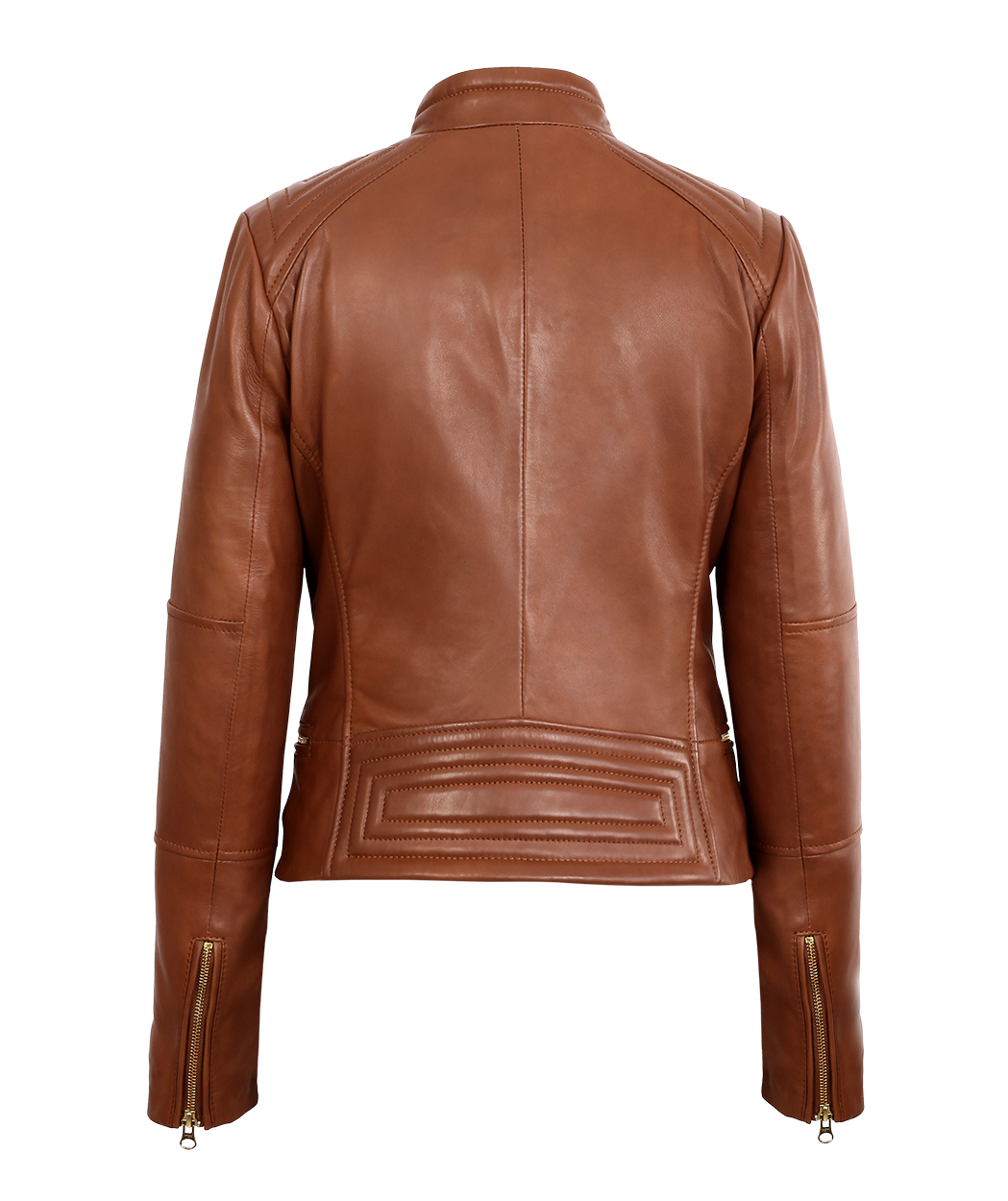 16c297ad853 Womens Brown Asymmetrical Lambskin Real Leather Jacket Light Gold ...