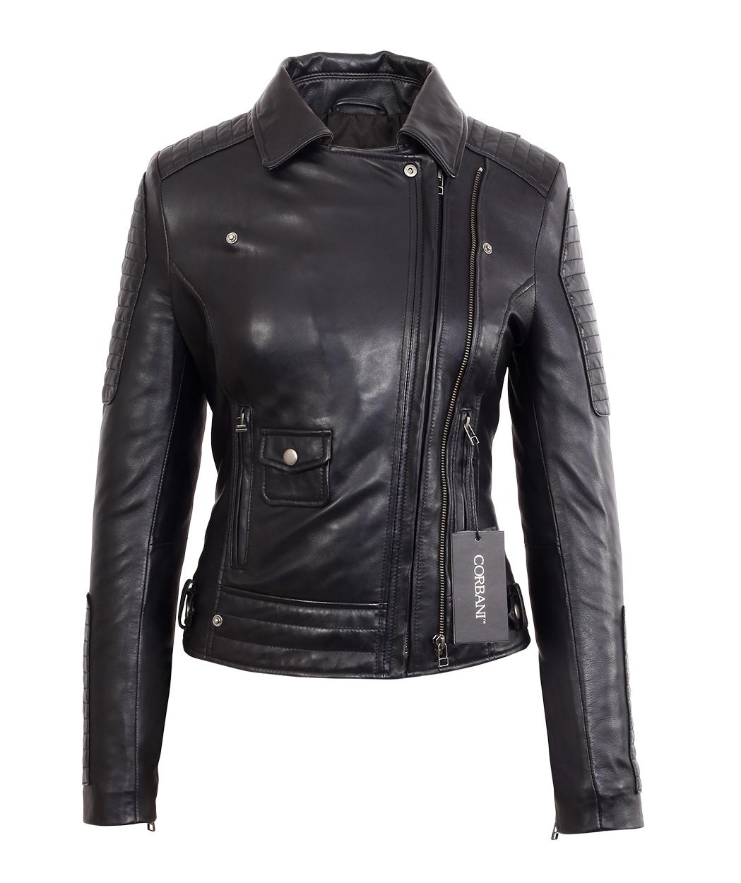 Womens Black Asymmetrical Moto Style Lambskin Real Leather