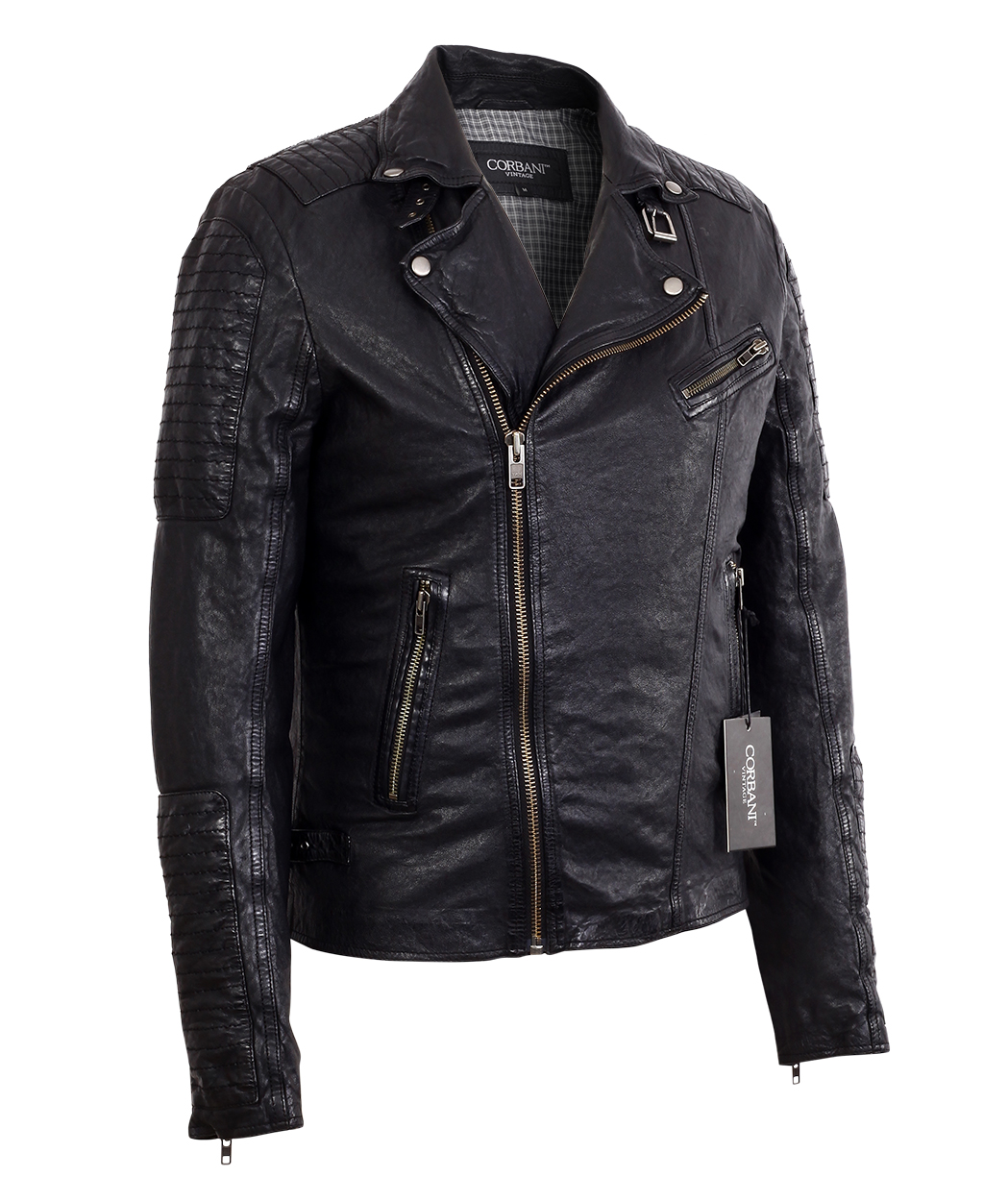 81d695762 Mens Asymmetrical Biker Vintage Black Lambskin Real Leather Jacket