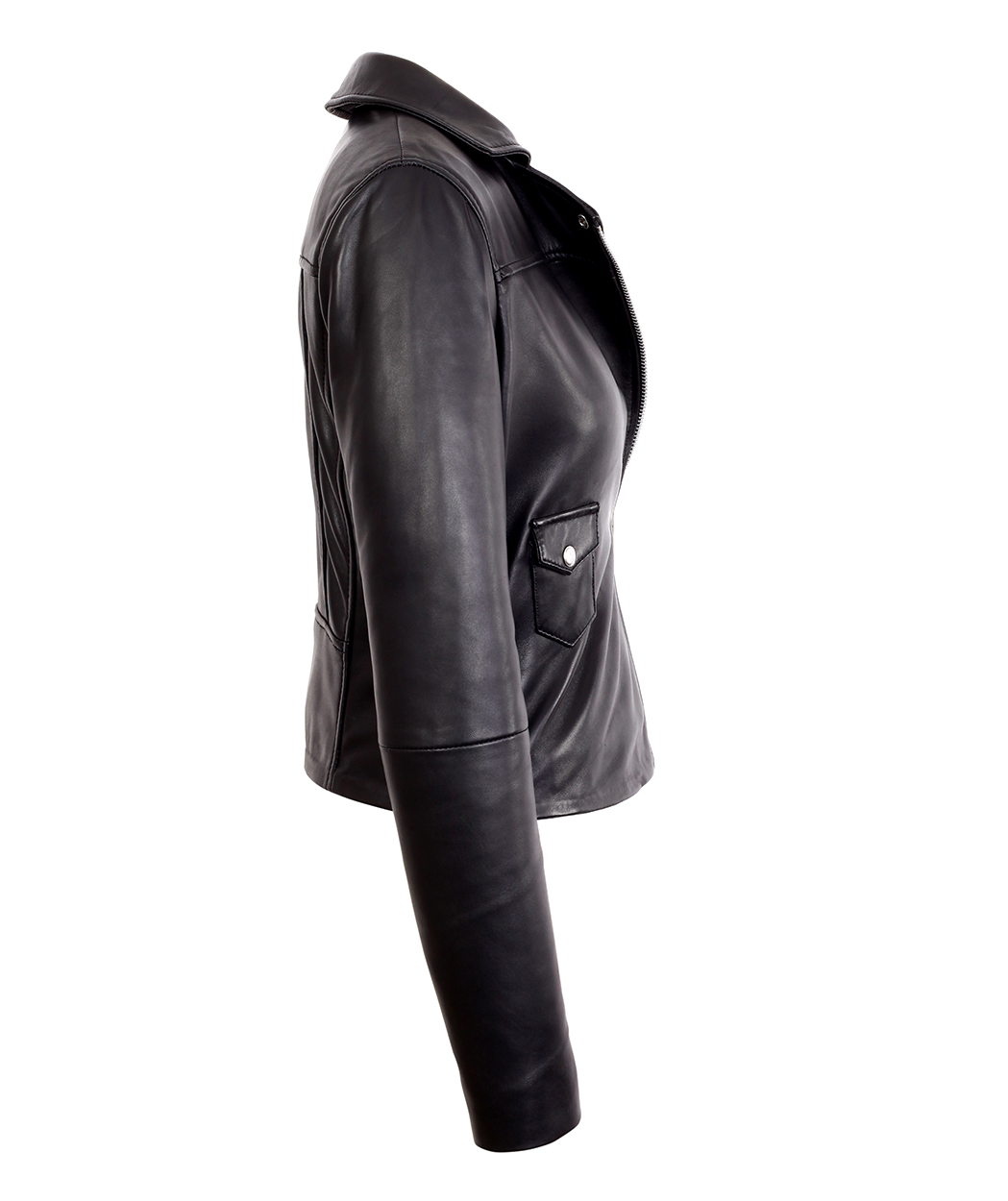 68a0b4591 Womens Black Asymmetrical Bomber Lambskin Real Leather Jacket