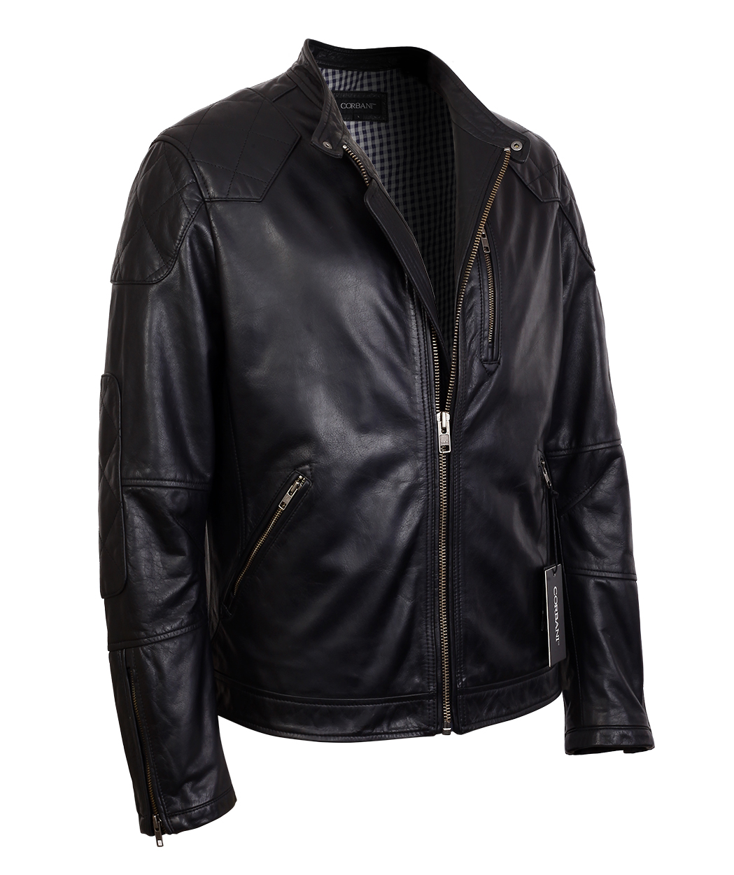 Mens Black Quilted Racer Real Leather Jacket With Snap