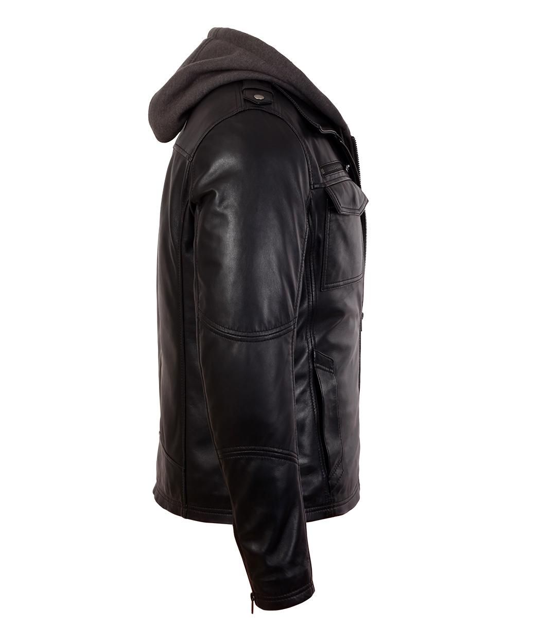 8b822b51b87e Mens Black Bomber Lambskin Real Leather Jacket with Hood - Genuine Leather  Jackets by Corbani